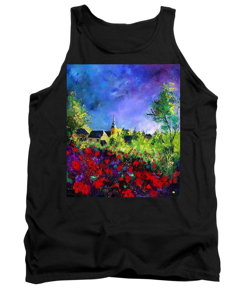 Flowers Tank Top featuring the painting Poppies In Villers by Pol Ledent
