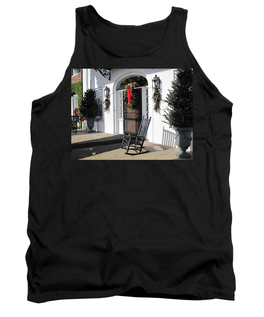 Photography Tank Top featuring the photograph Porch At Boone Hall Plantation Charleston Sc by Susanne Van Hulst