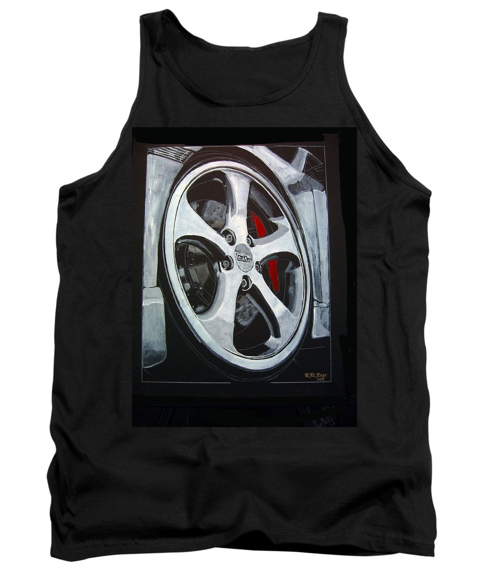 Porsche Tank Top featuring the painting Porsche Techart Wheel by Richard Le Page