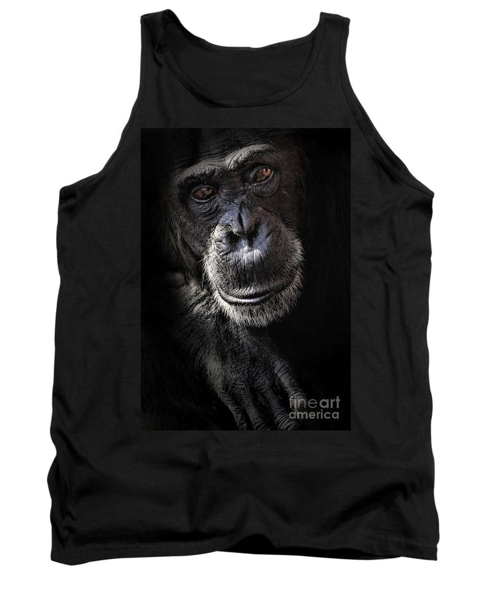 Chimp Tank Top featuring the photograph Portrait Of A Chimpanzee by Avalon Fine Art Photography