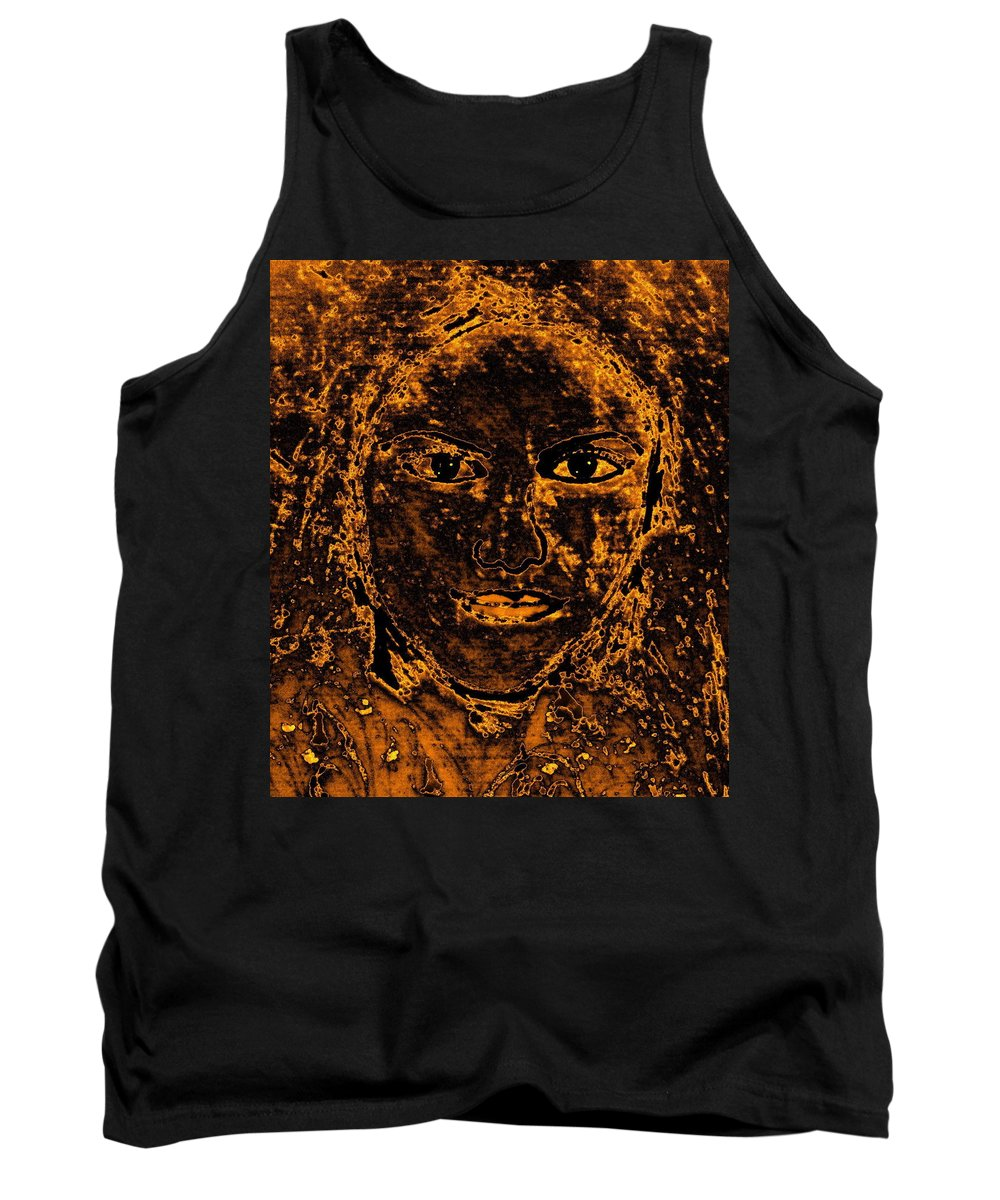 Ancient Woman Tank Top featuring the mixed media Portrait Of An Ancient Woman by Natalie Holland
