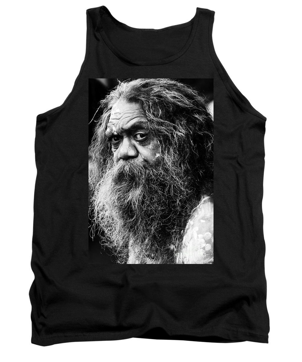 Aborigine Aboriginal Australian Tank Top featuring the photograph Portrait Of An Australian Aborigine by Sheila Smart Fine Art Photography