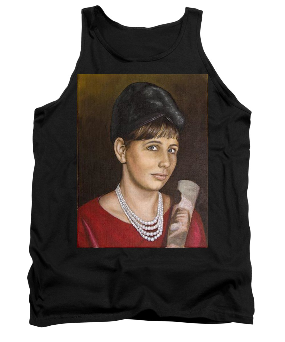 Portrait Tank Top featuring the painting Portrait Of My Mother Early Sixties by Rob De Vries