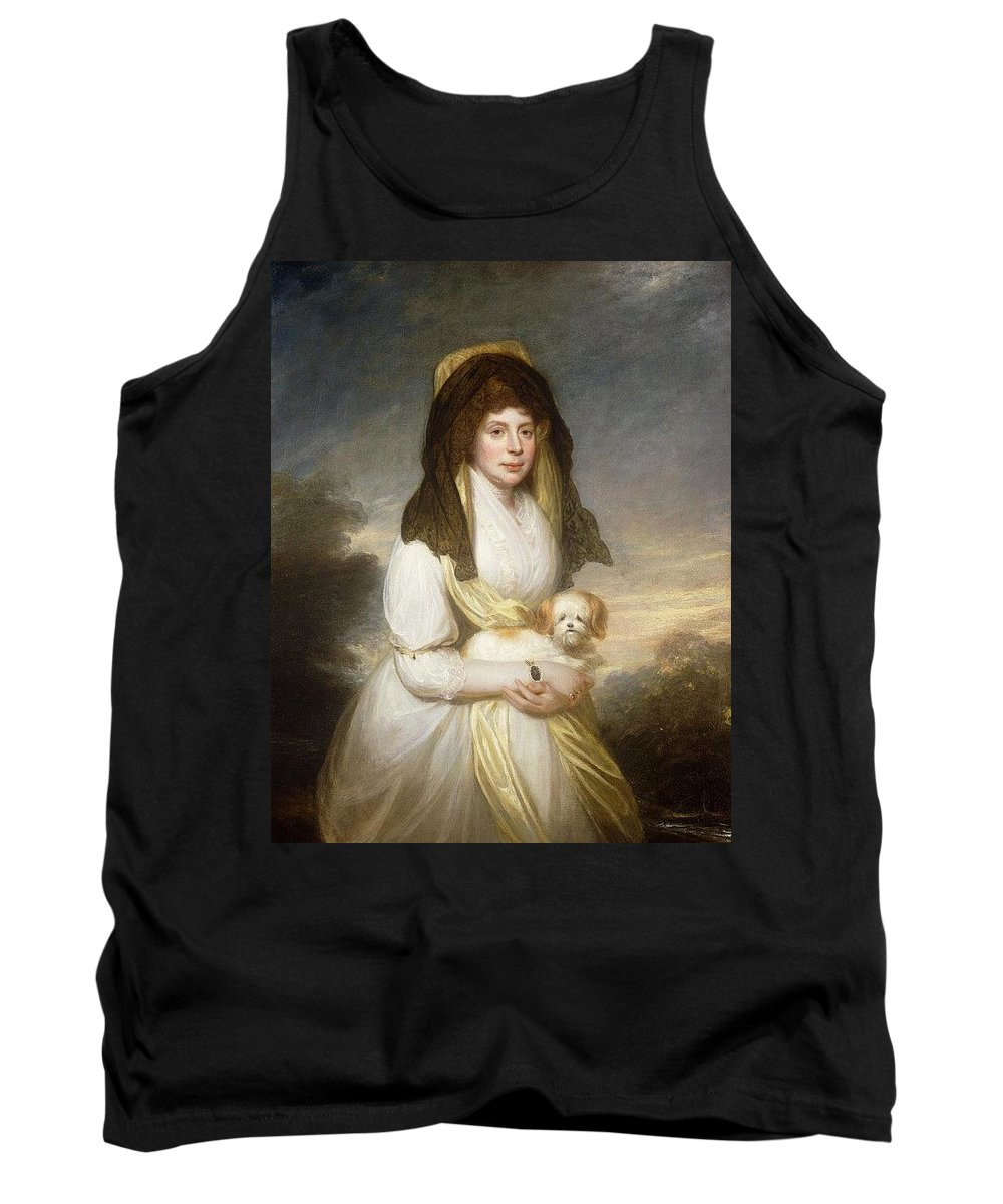 Attractive Tank Top featuring the digital art Portrait Of Queen Charlotte Three-quarter Length In A White Dress A Yellow Shawl And Black Mantilla Holding A Maltese Dog Sir Henry William Beechey by Eloisa Mannion