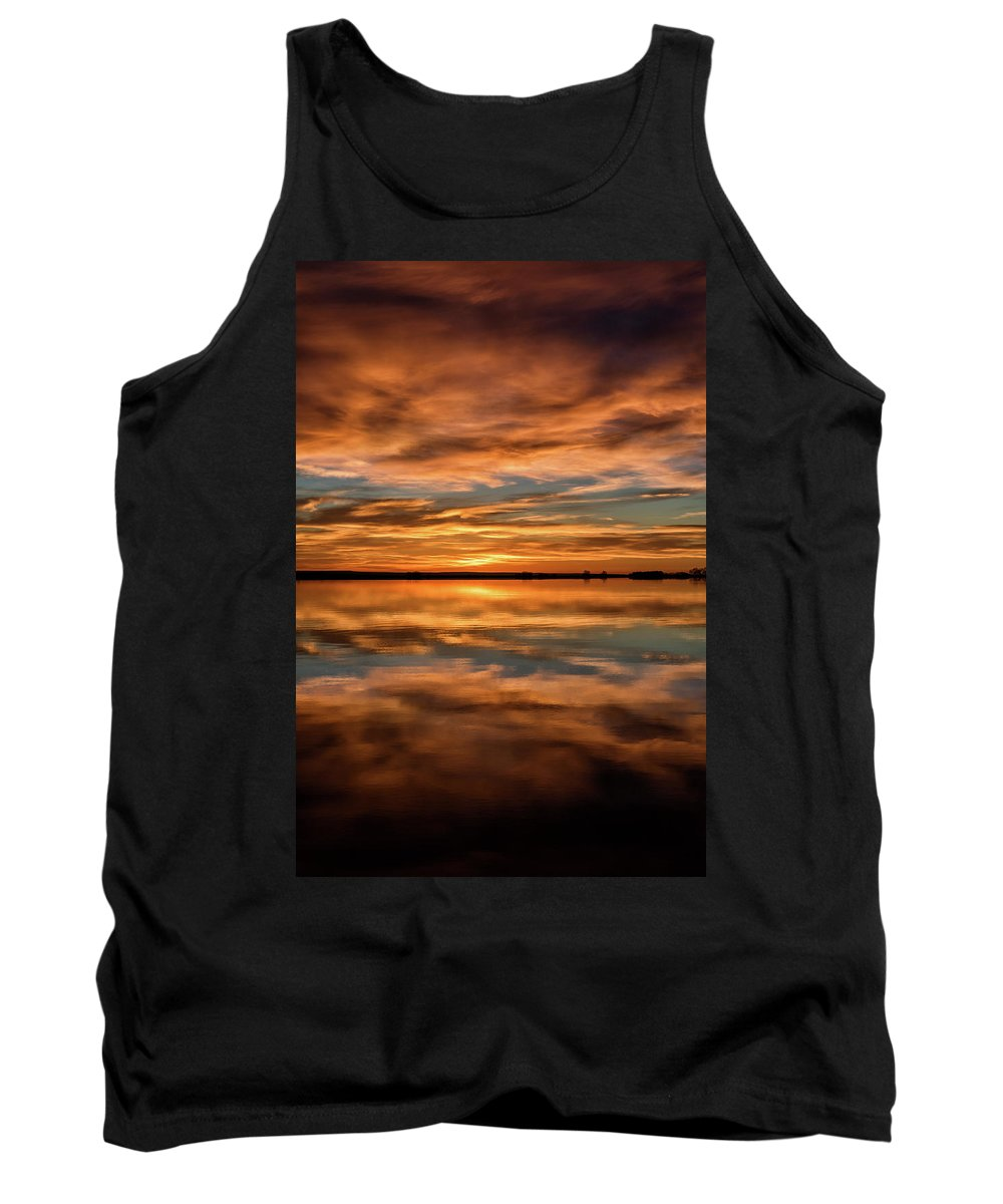 Sunrise Tank Top featuring the photograph Portrait Of Sunrise Reflections On The Great Plains by Tony Hake
