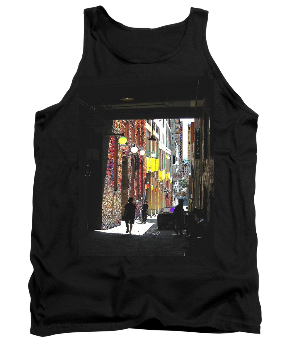 Seattle Tank Top featuring the digital art Post Alley by Tim Allen