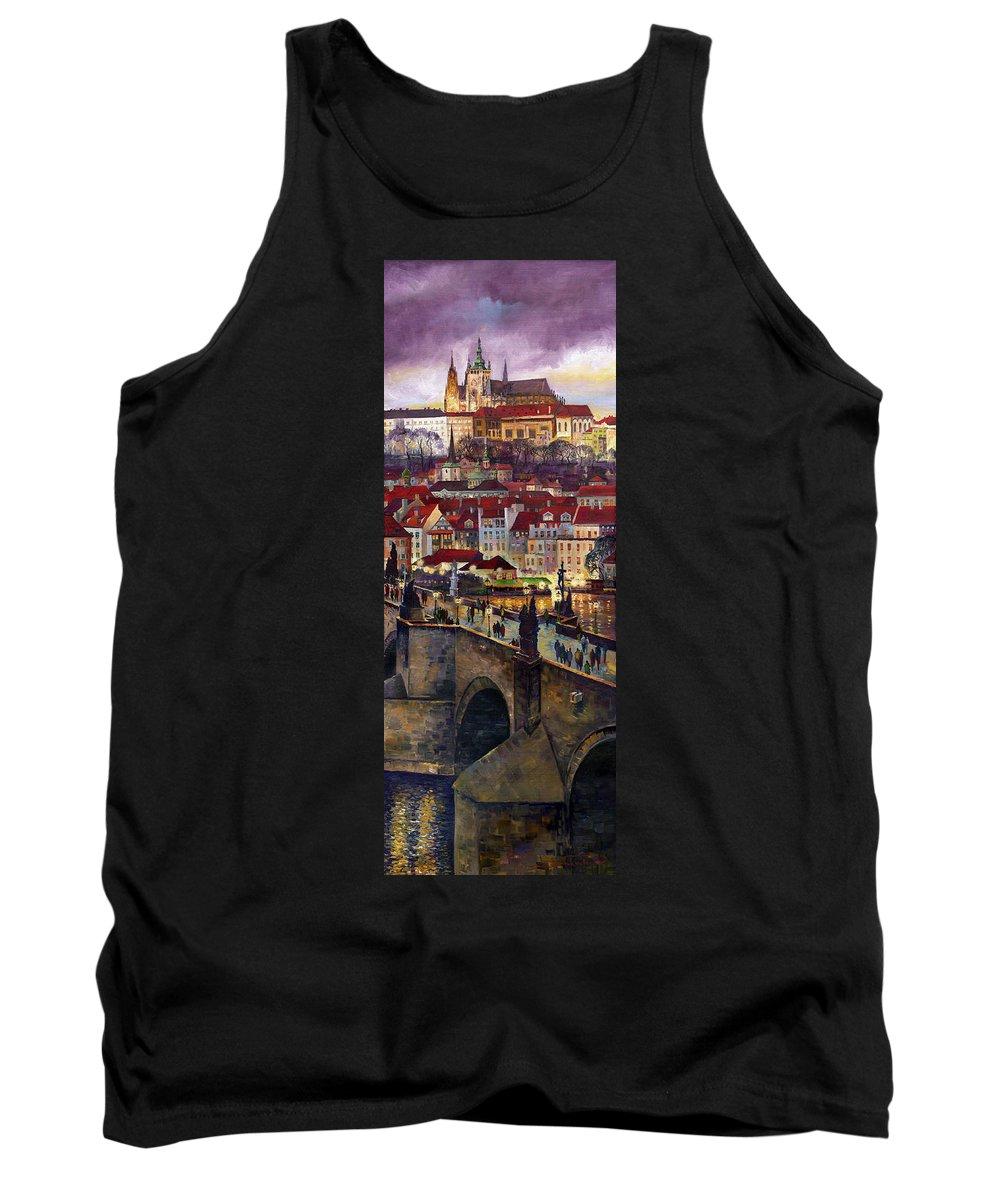 Prague Tank Top featuring the painting Prague Charles Bridge With The Prague Castle by Yuriy Shevchuk