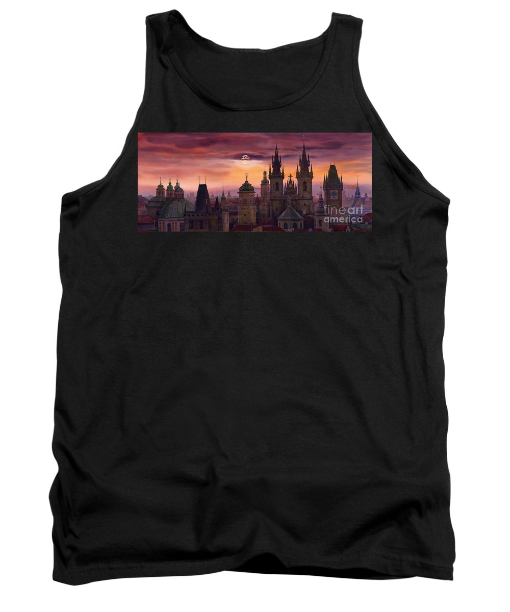 Cityscape Tank Top featuring the painting Prague City Of Hundres Spiers by Yuriy Shevchuk