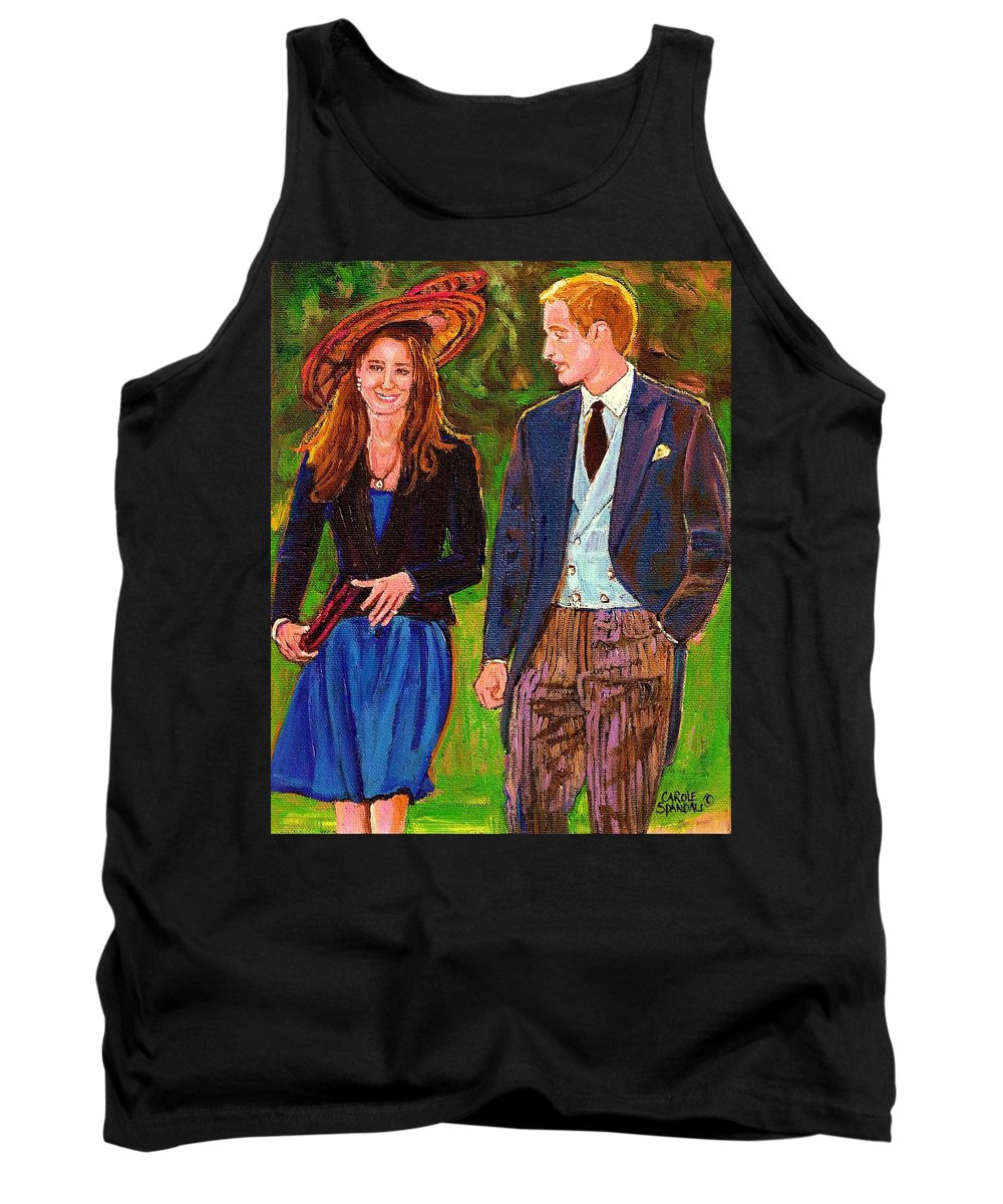 Wills And Kate Tank Top featuring the painting Prince William And Kate The Young Royals by Carole Spandau