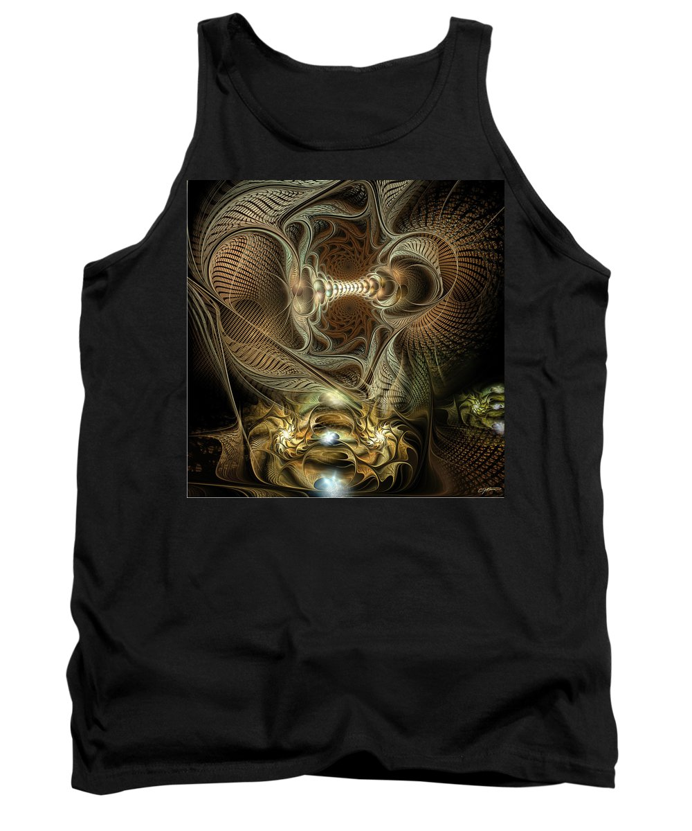 Abstract Tank Top featuring the digital art Probing Deception by Casey Kotas