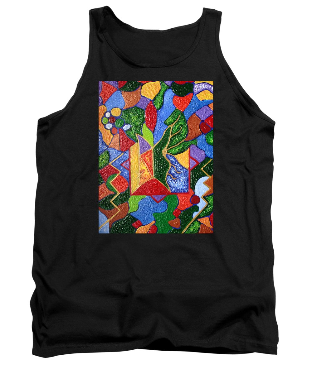 Spiritual Symbol Tank Top featuring the painting Protection While Project Realization by Joanna Pilatowicz