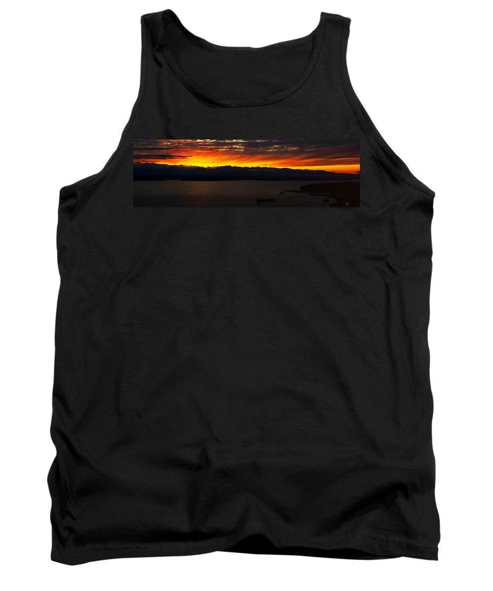 Puget Sound Tank Top featuring the photograph Puget Sound Olympic Mountains Sunset by Mike Reid
