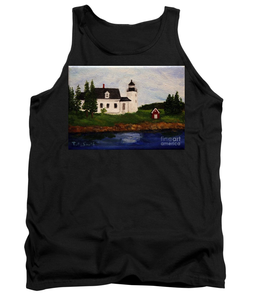 Landscape Tank Top featuring the painting Pumpkin Island Lighthouse by Timothy Smith