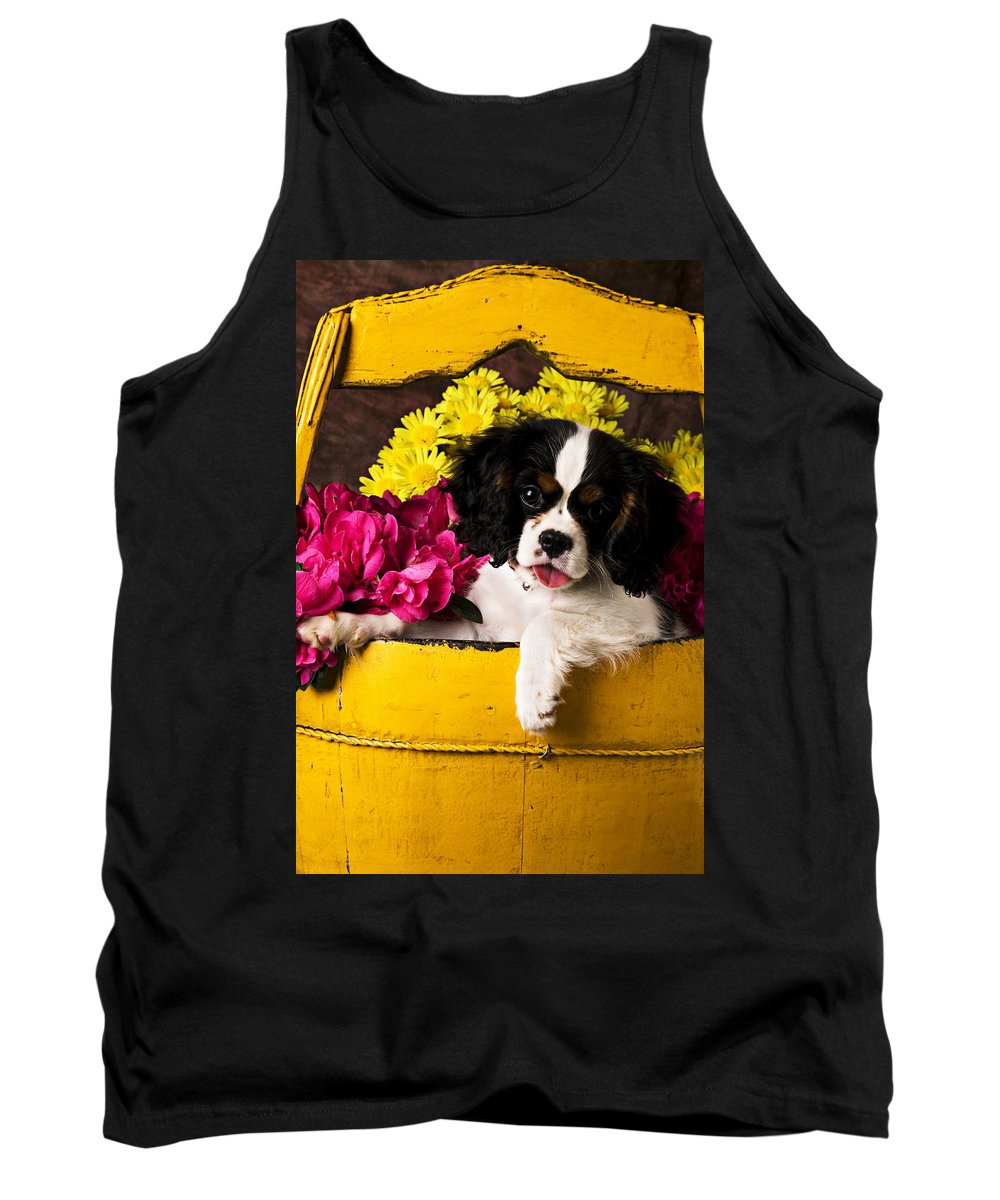 Puppy Dog Cute Doggy Domestic Pup Pet Pedigree Canine Creature Soccer Ball Tank Top featuring the photograph Puppy In Yellow Bucket by Garry Gay