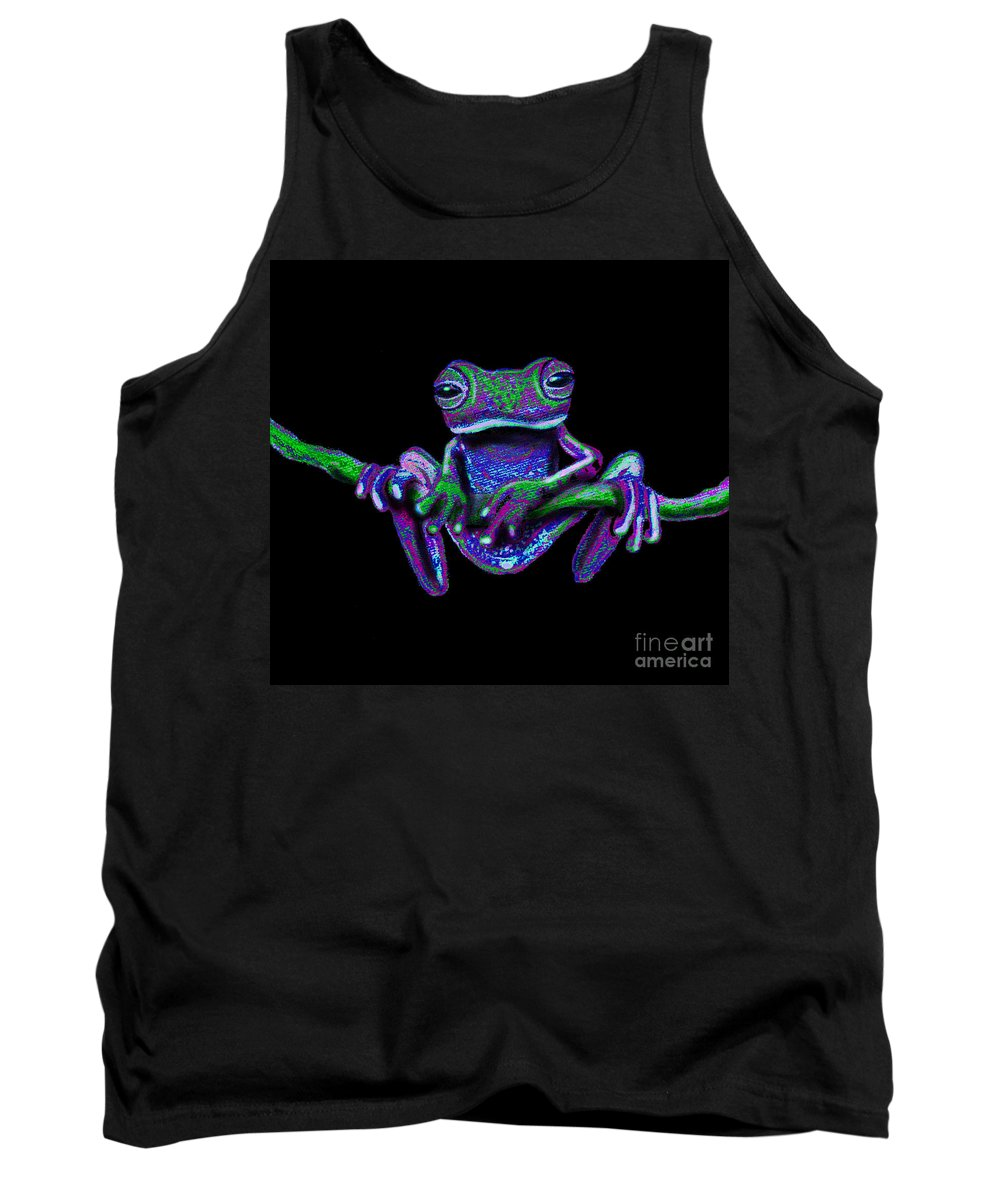 Frog Art Tank Top featuring the painting Purple Green Ghost Frog by Nick Gustafson