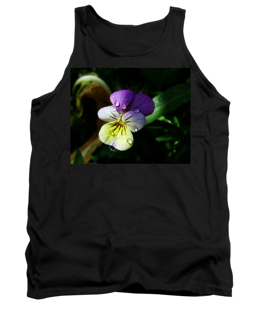 Flower Tank Top featuring the photograph Purple Pansy by Anthony Jones