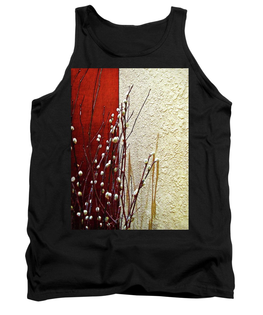 Botanical Tank Top featuring the photograph Pussy Willow Corner by Joan Minchak
