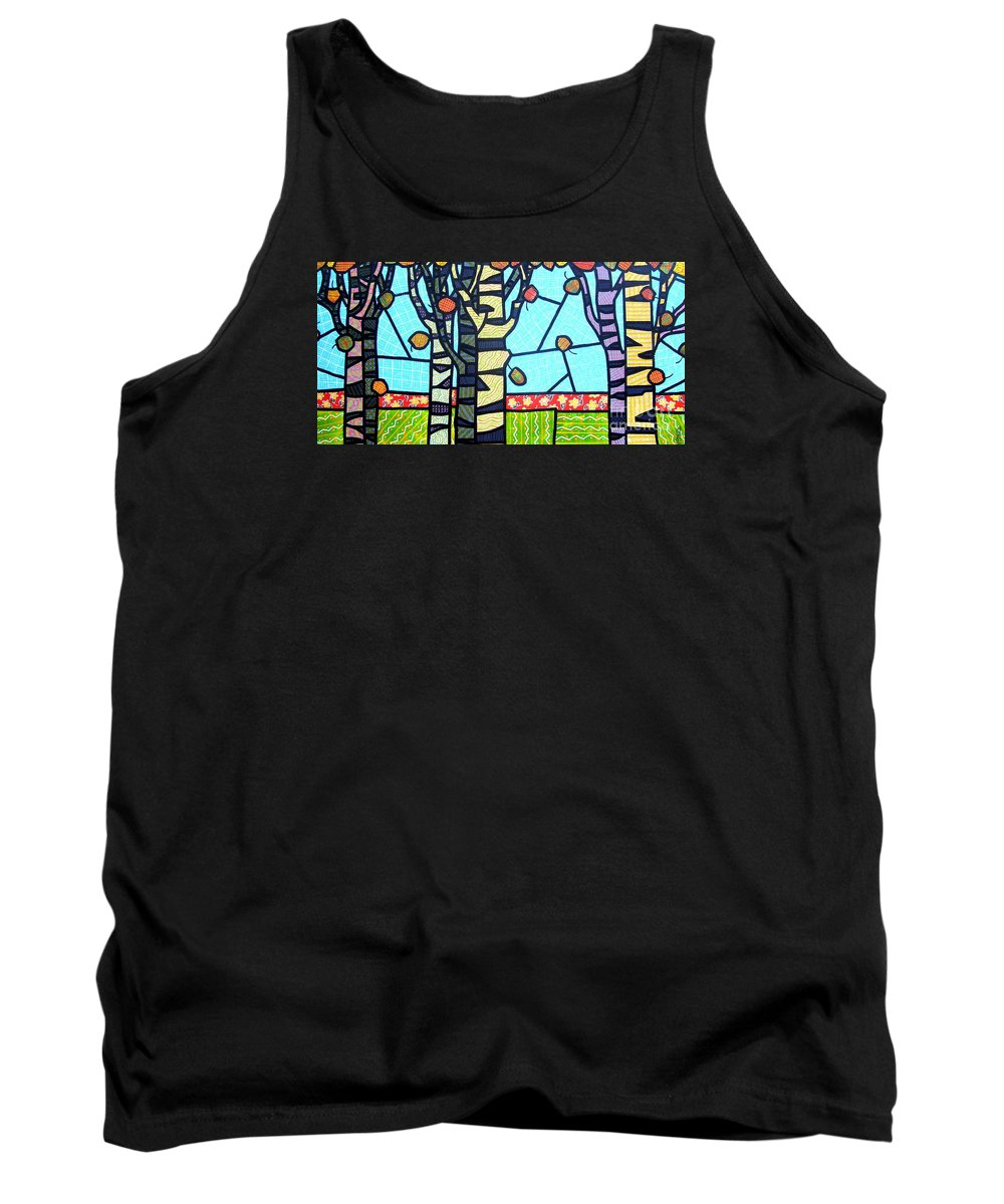 Birch Trees Tank Top featuring the painting Quilted Birch Garden by Jim Harris