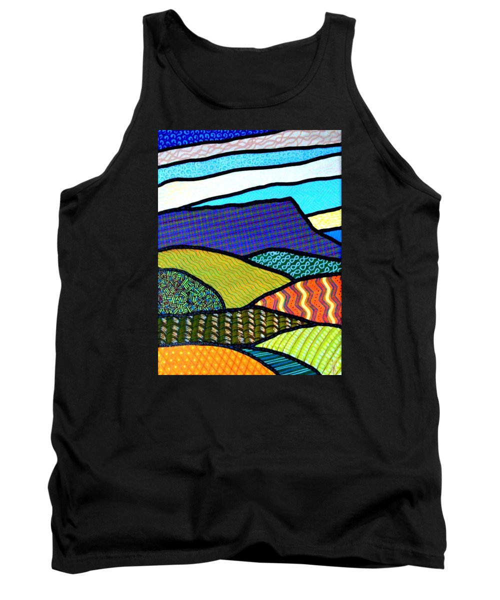Quilt Tank Top featuring the painting Quilted Mountain Peak by Jim Harris