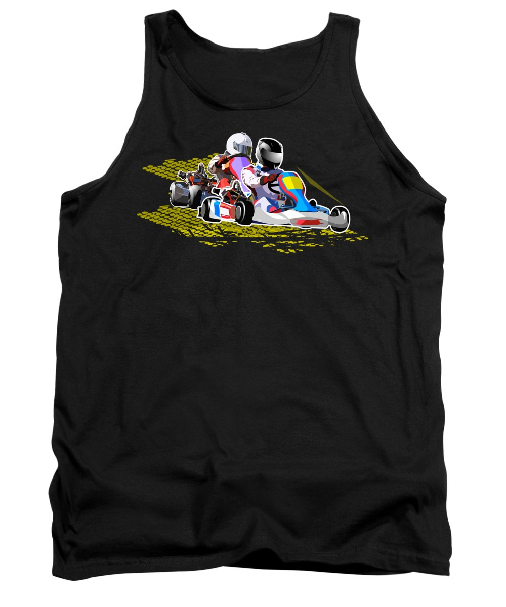 Action Tank Top featuring the drawing Racing Go Kart by Victoria Sinkevych