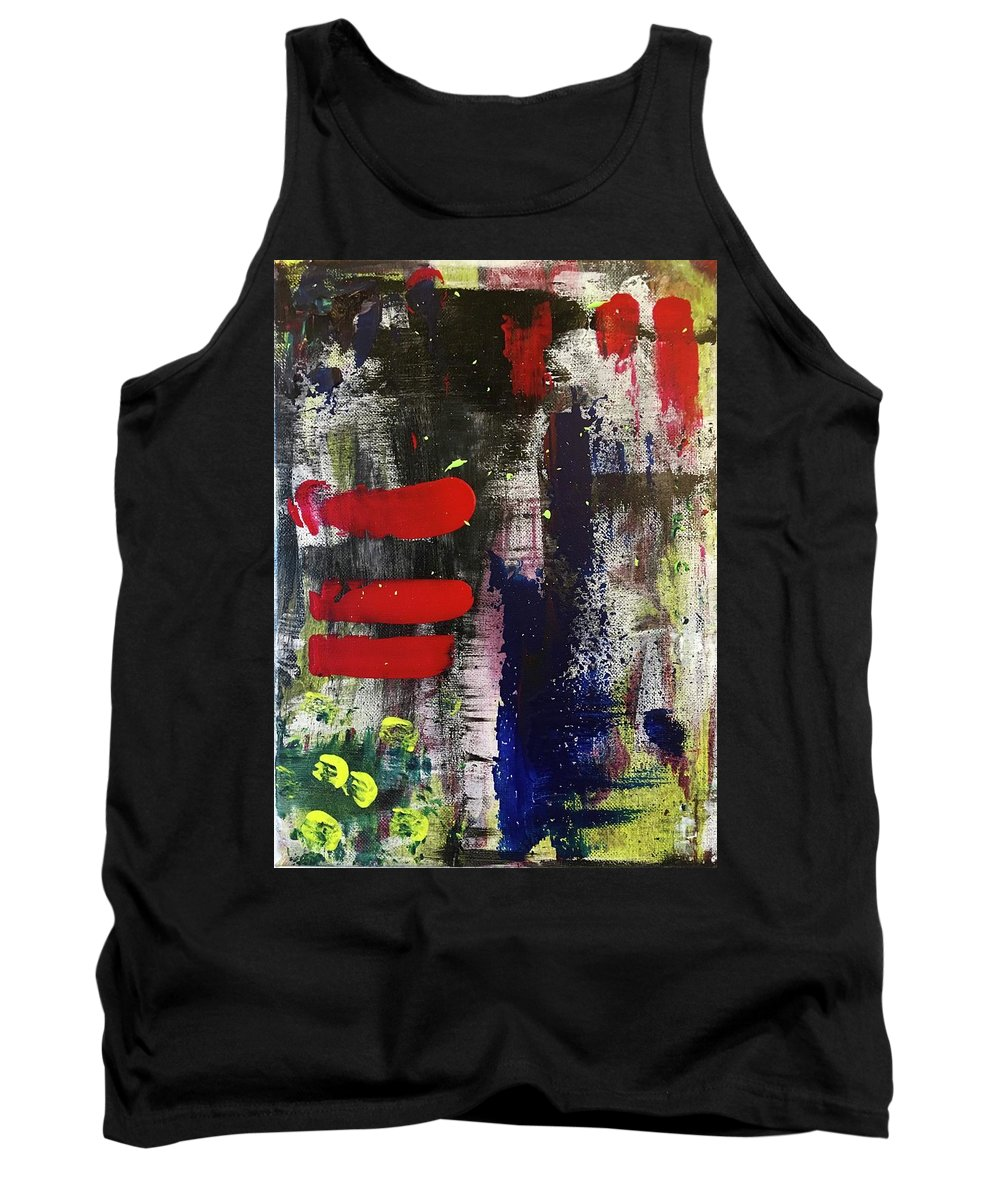 Red Blue White Yellow Green Black Pink Abstract Contemporary Modern Wall Art Room Decor Design Tank Top featuring the painting Radical by Nadia Benchakroun