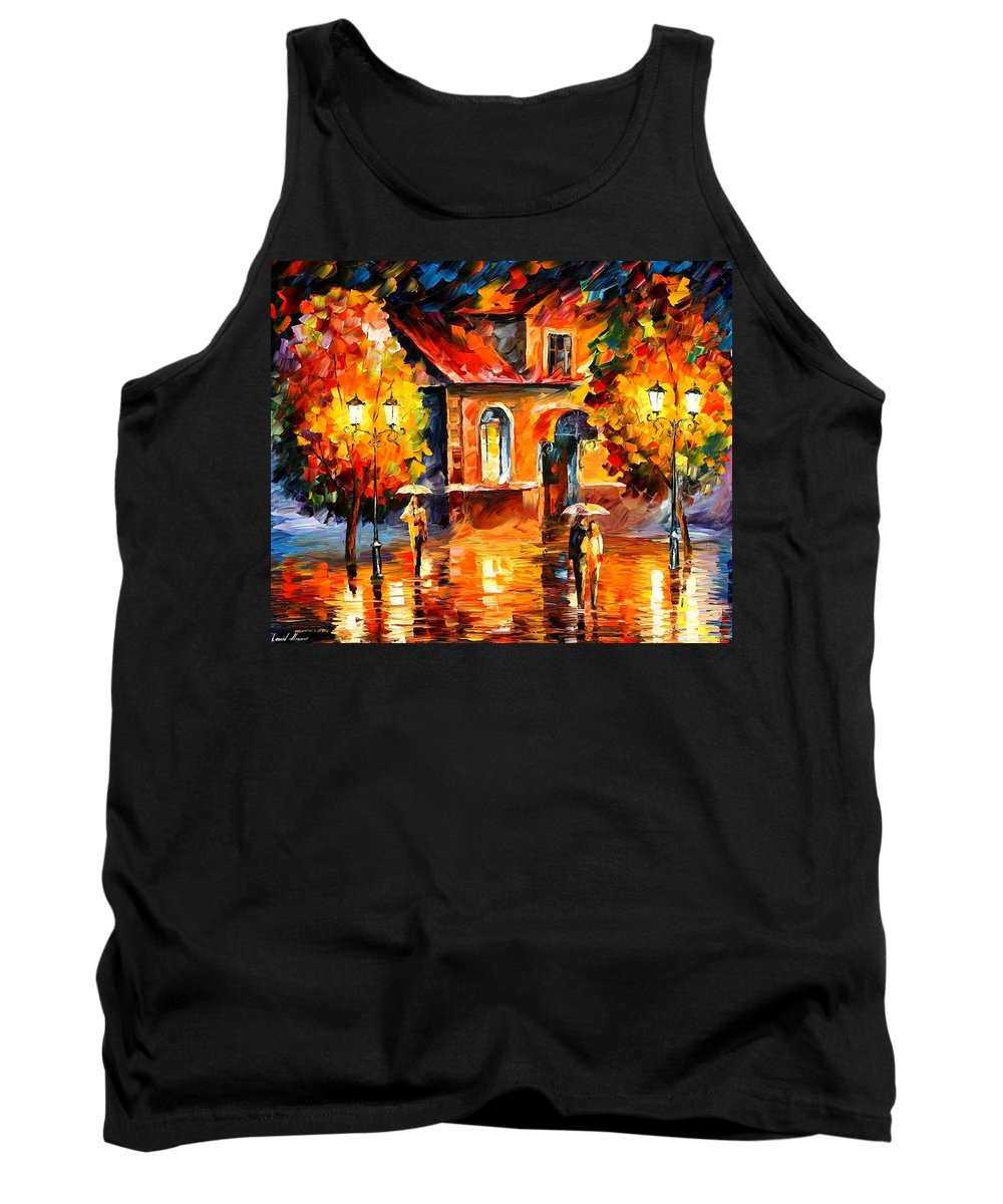 Afremov Tank Top featuring the painting Rain Impression by Leonid Afremov