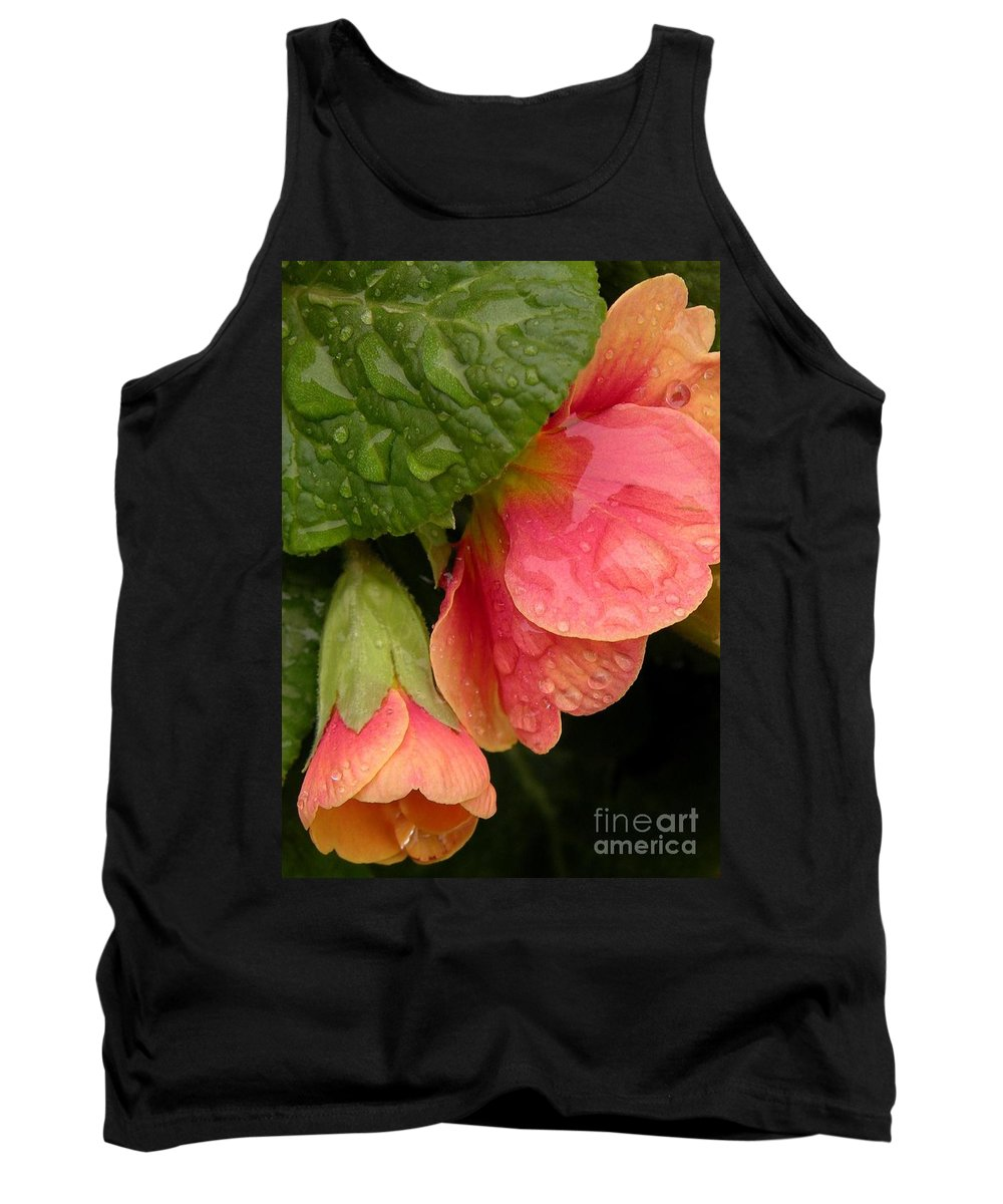 Floral Tank Top featuring the photograph Raindrops On Coral Flowers by Carol Groenen