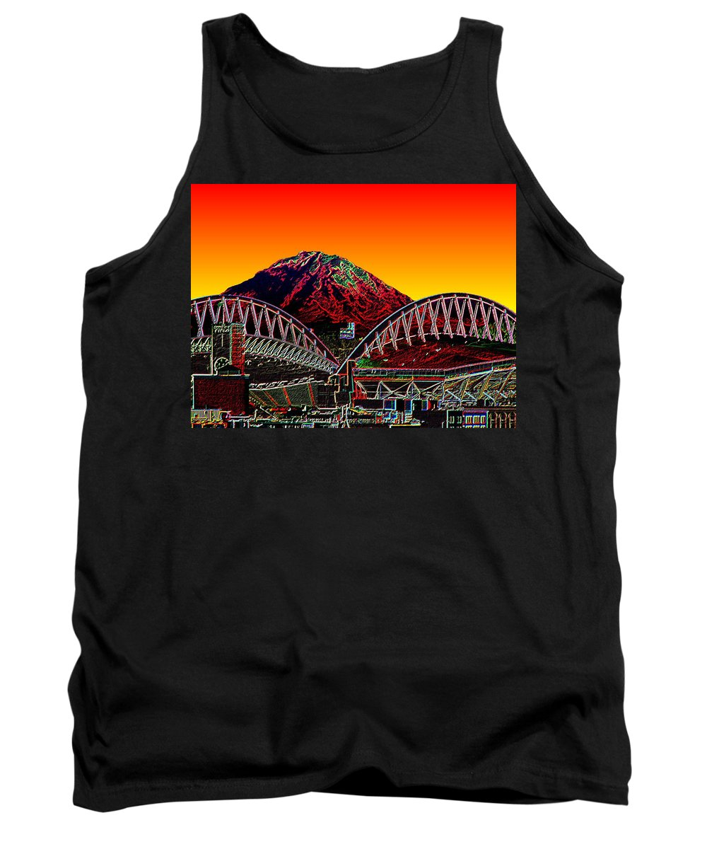 Mount Rainier Tank Top featuring the photograph Rainier Over Qwest Field by Tim Allen