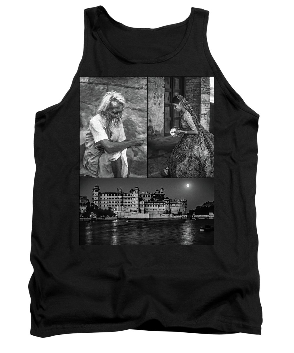 India Tank Top featuring the photograph Rajasthan Collage Bw by Steve Harrington