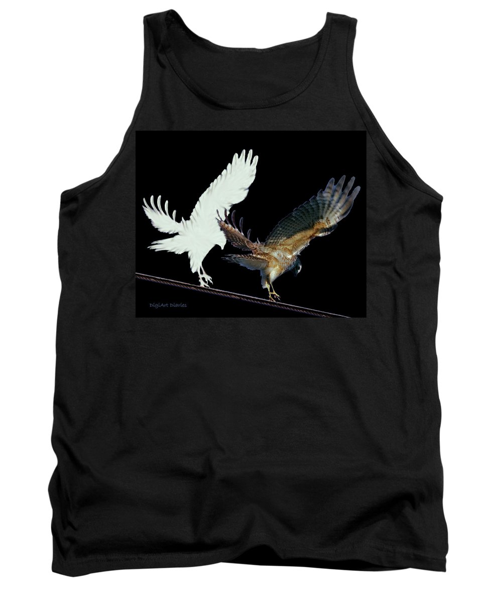 Bird Tank Top featuring the digital art Raptor And His Soul by DigiArt Diaries by Vicky B Fuller