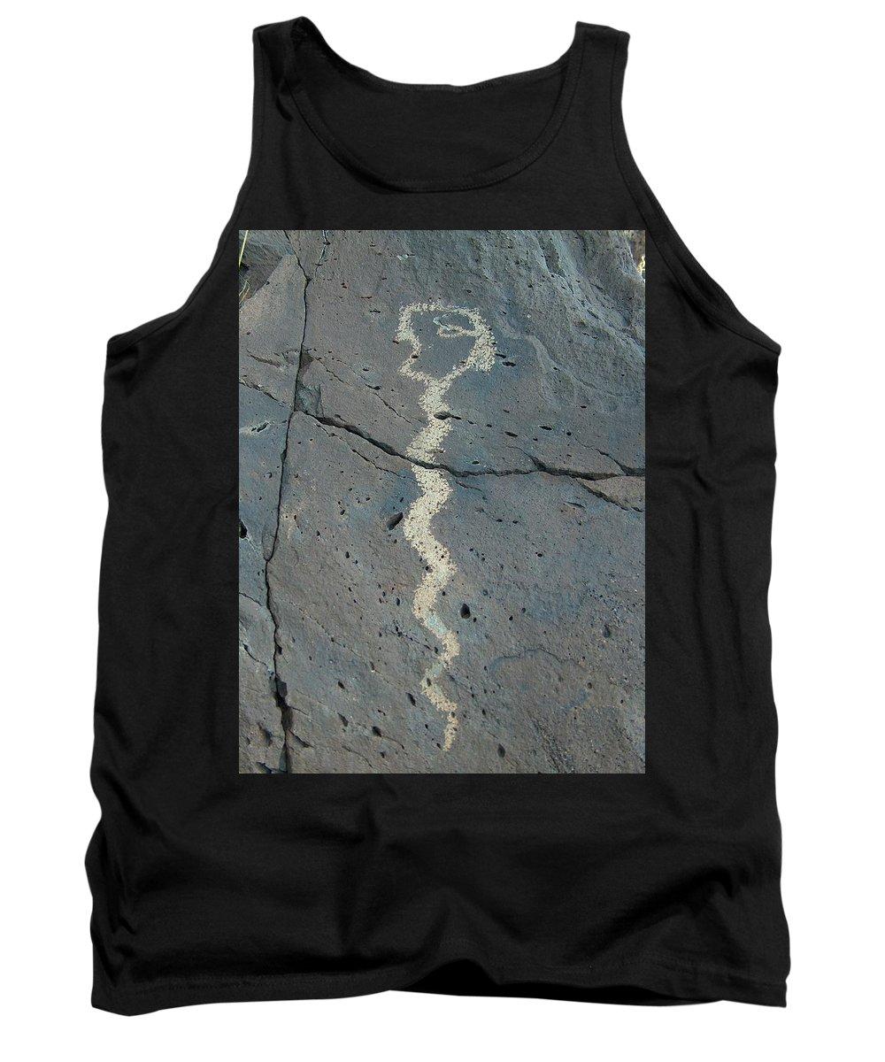 Rattlesnake Tank Top featuring the photograph Rattlesnake Petroglyph 2 by Tim McCarthy