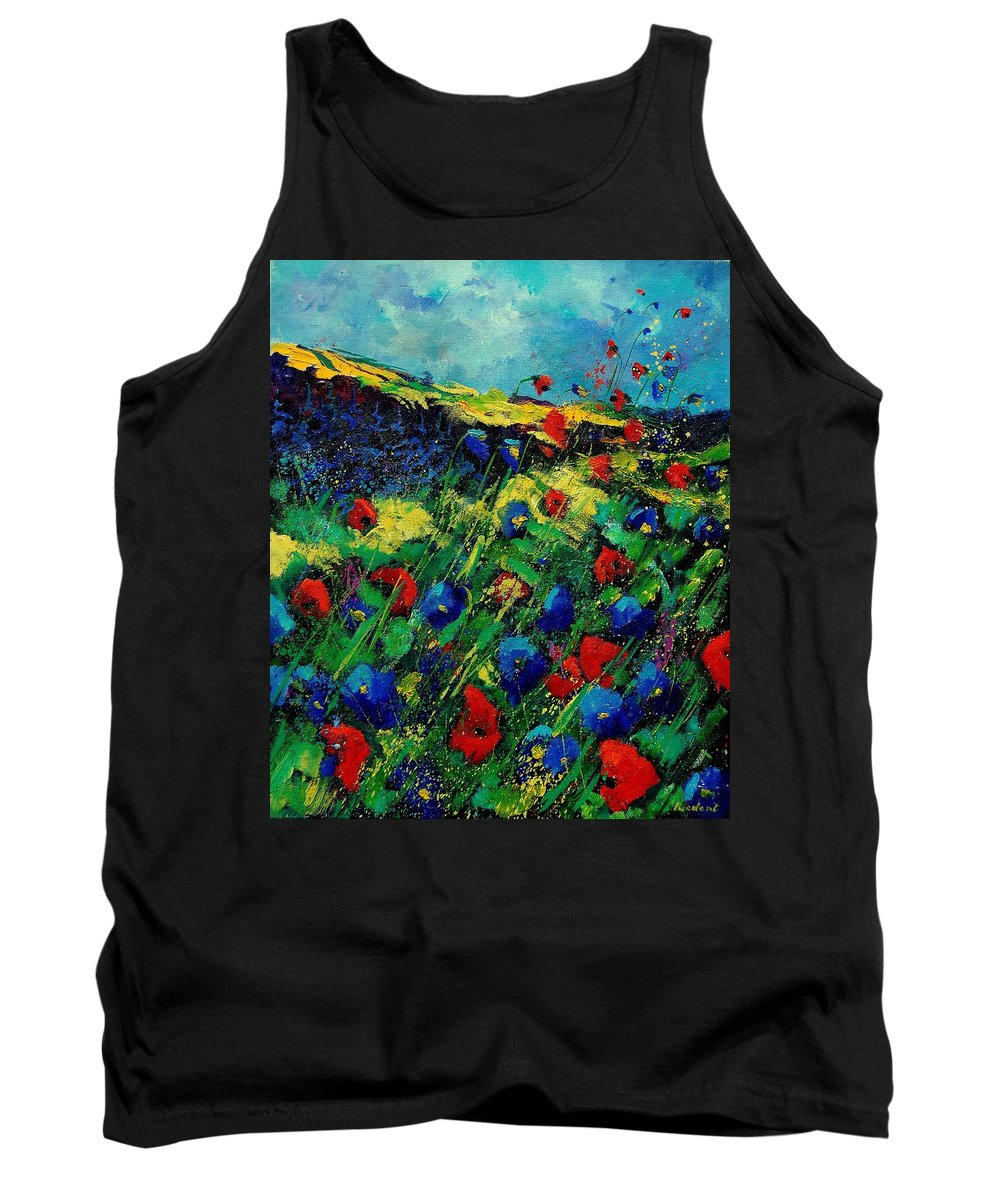 Flowers Tank Top featuring the painting Red And Blue Poppies 56 by Pol Ledent
