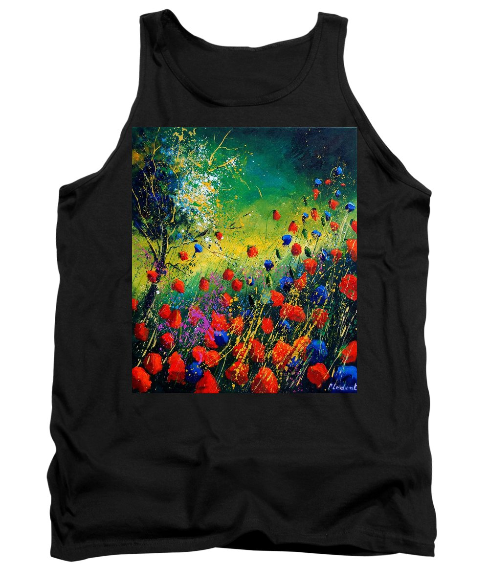 Flowers Tank Top featuring the painting Red And Blue Poppies by Pol Ledent
