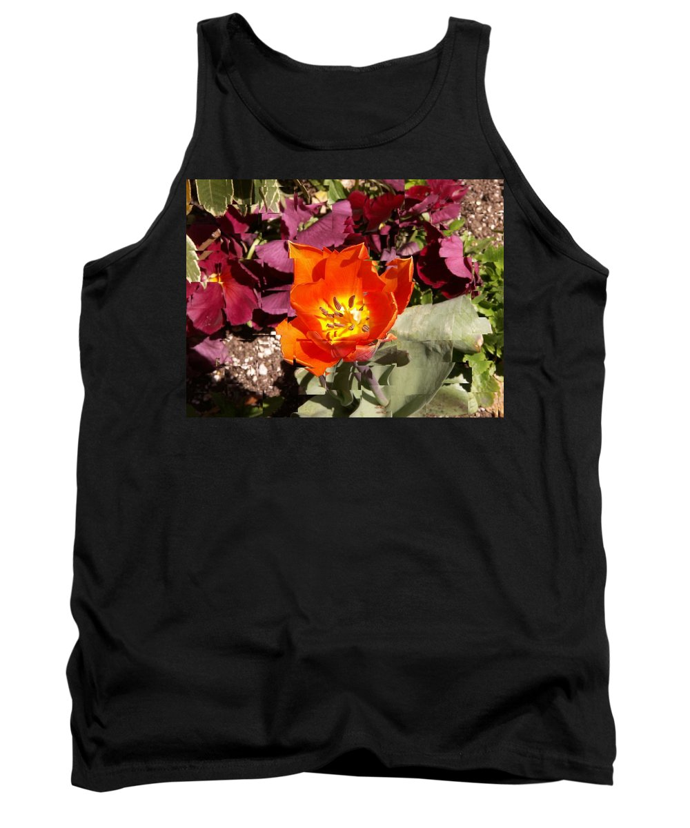 Flower Tank Top featuring the digital art Red And Yellow Flower by Tim Allen