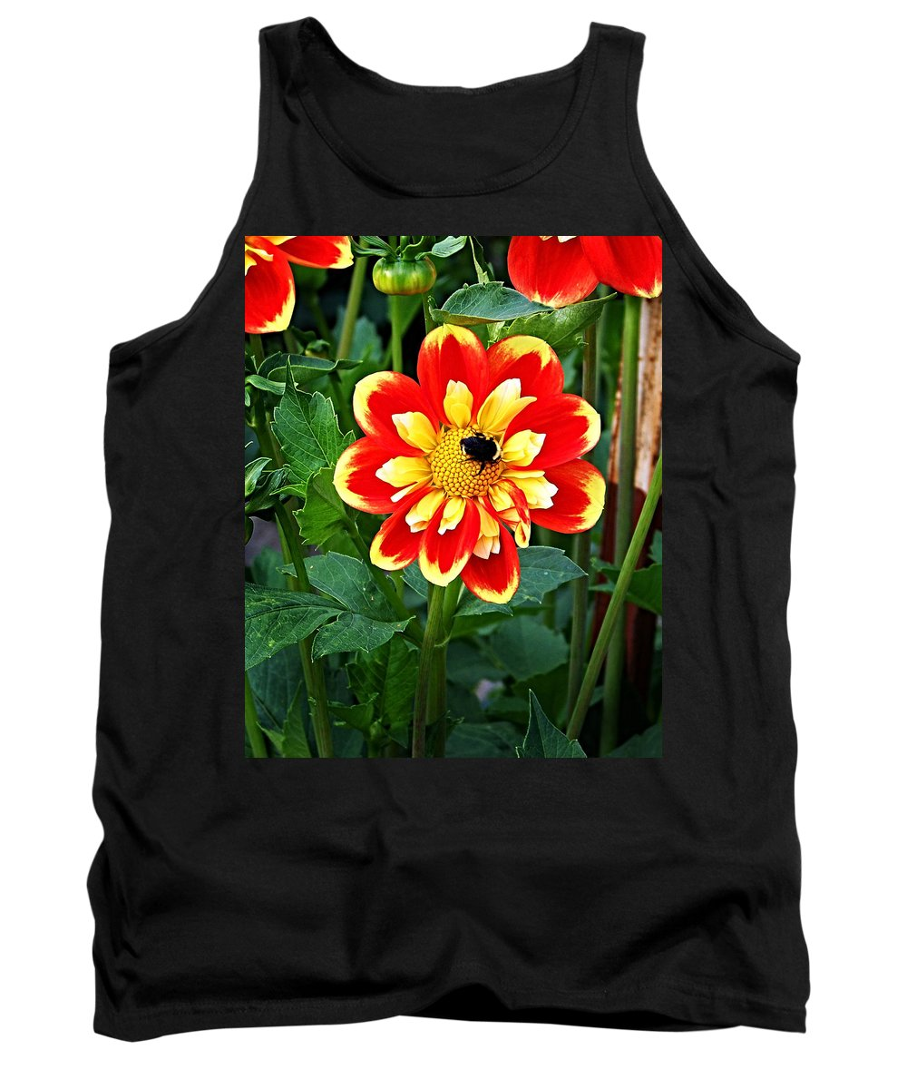 Flower Tank Top featuring the photograph Red And Yellow Flower With Bee by Anthony Jones