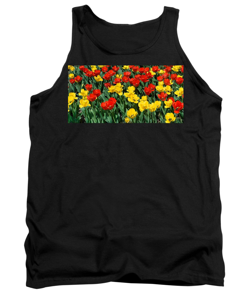 Red Tank Top featuring the photograph Red And Yellow Tulips Naperville Illinois by Michael Bessler