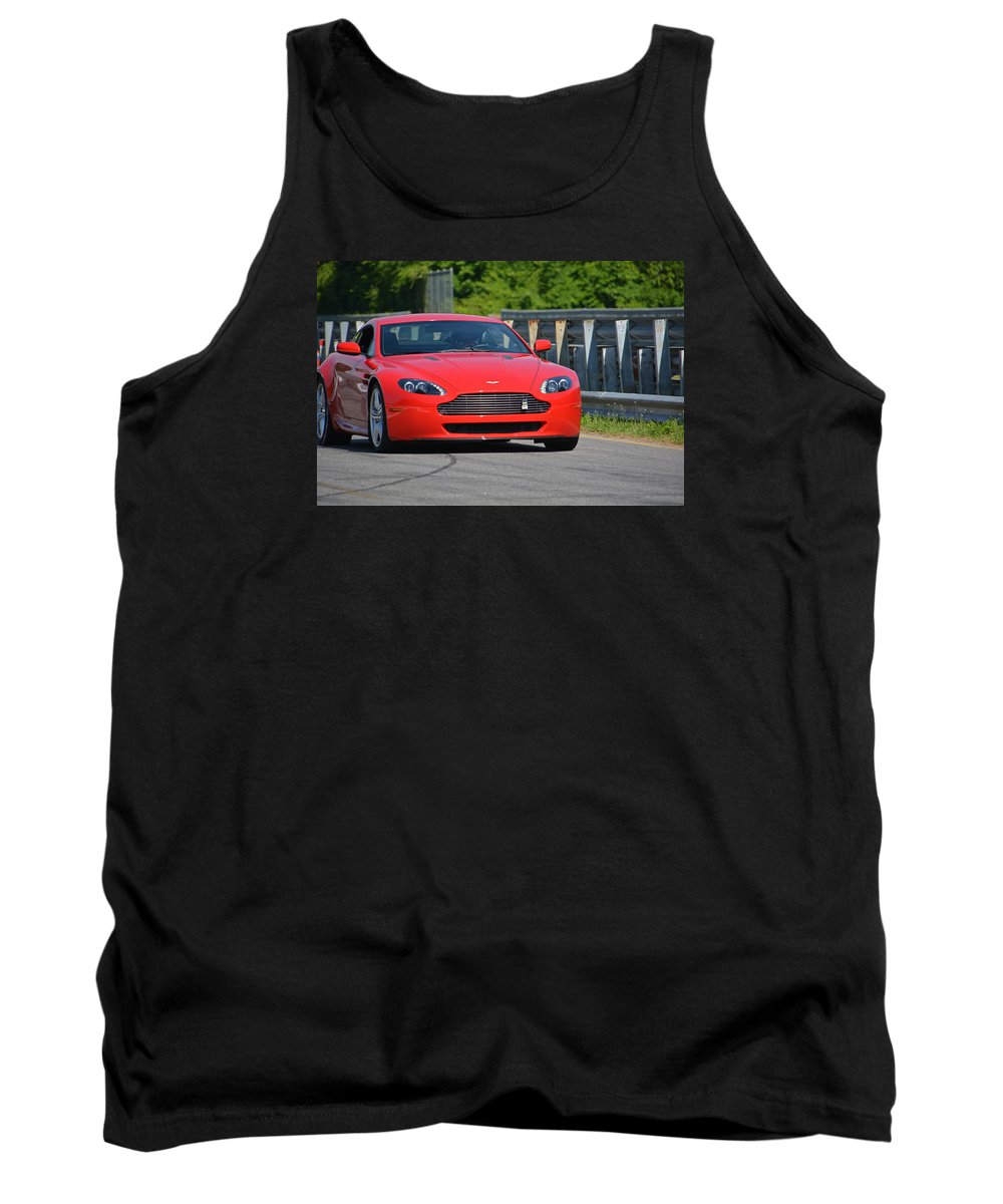 Auston Martin Tank Top featuring the photograph Red Auston Martin Leaving Pit Lane by Mike Martin