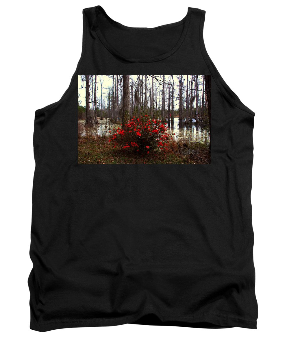 Azaleas Tank Top featuring the photograph Red Azaleas In The Swamp by Susanne Van Hulst