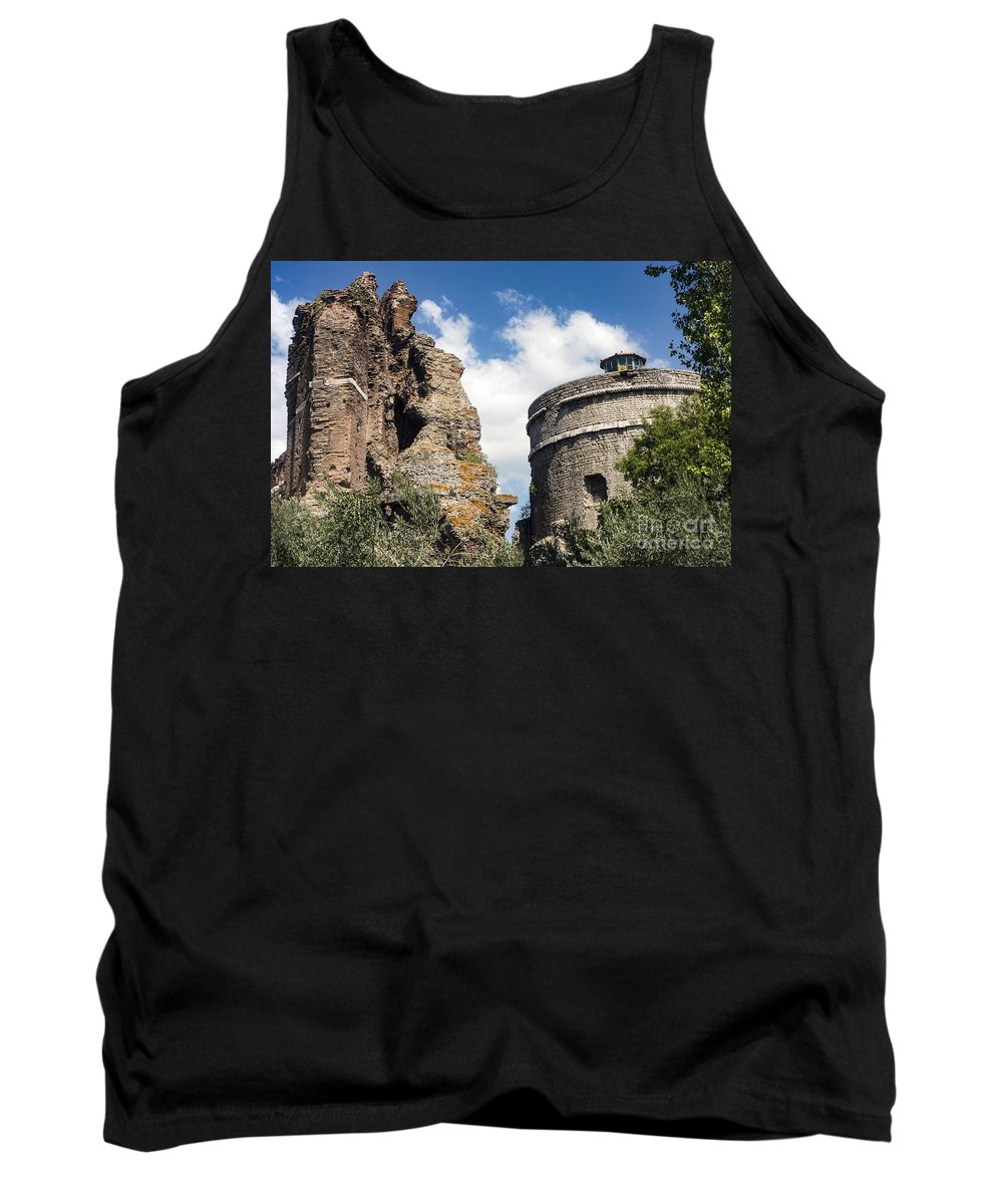 Bergama Pergamon Turkey Red Basilica Basilicas Serapis Temple Temples Byzantine Church Churches Place Of Worship Places Of Worship Structure Structures Building Buildings Brick Bricks Stone Stones Landmark Landmarks Tank Top featuring the photograph Red Basilica Scene 1 by Bob Phillips