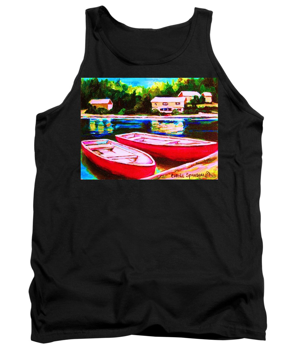 Red Boats Tank Top featuring the painting Red Boats At The Lake by Carole Spandau