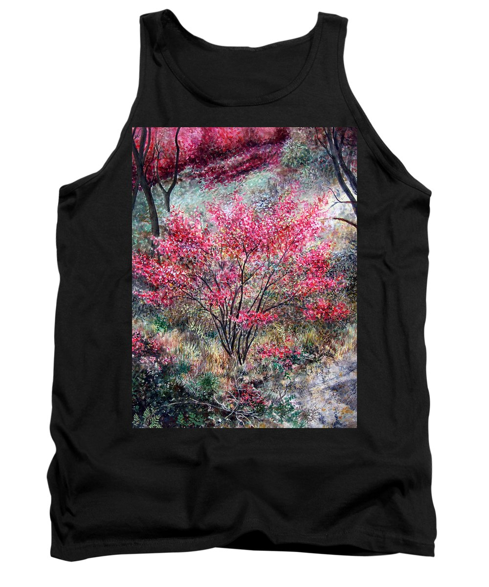 Landscape Tank Top featuring the painting Red Bush by Valerie Meotti