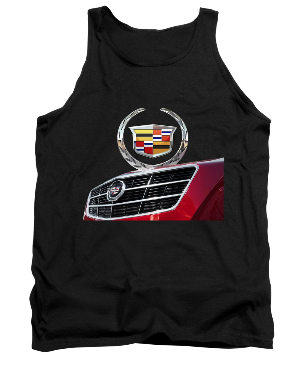 'auto Badges' By Serge Averbukh Tank Top featuring the photograph Red Cadillac C T S - Front Grill Ornament And 3d Badge On Black by Serge Averbukh