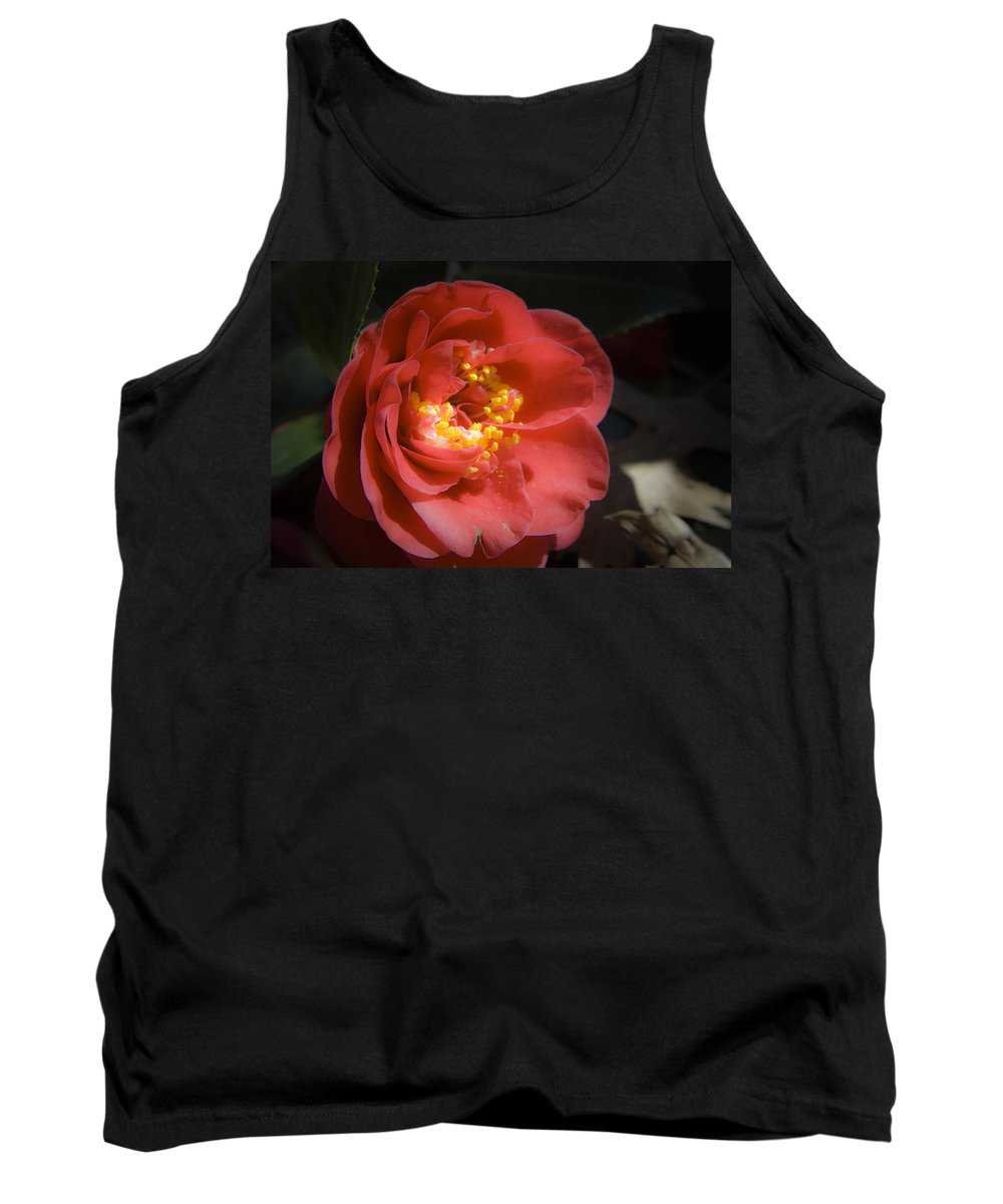 Camellia Tank Top featuring the photograph Red Camellia Bloom by Teresa Mucha