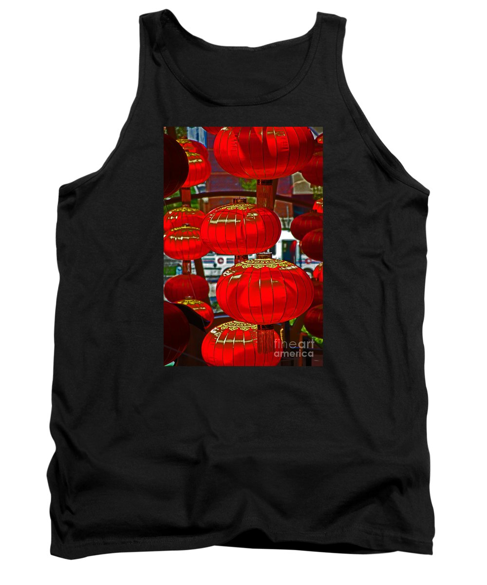 Chinese Tank Top featuring the photograph Red Chinese Lanterns by David Frederick