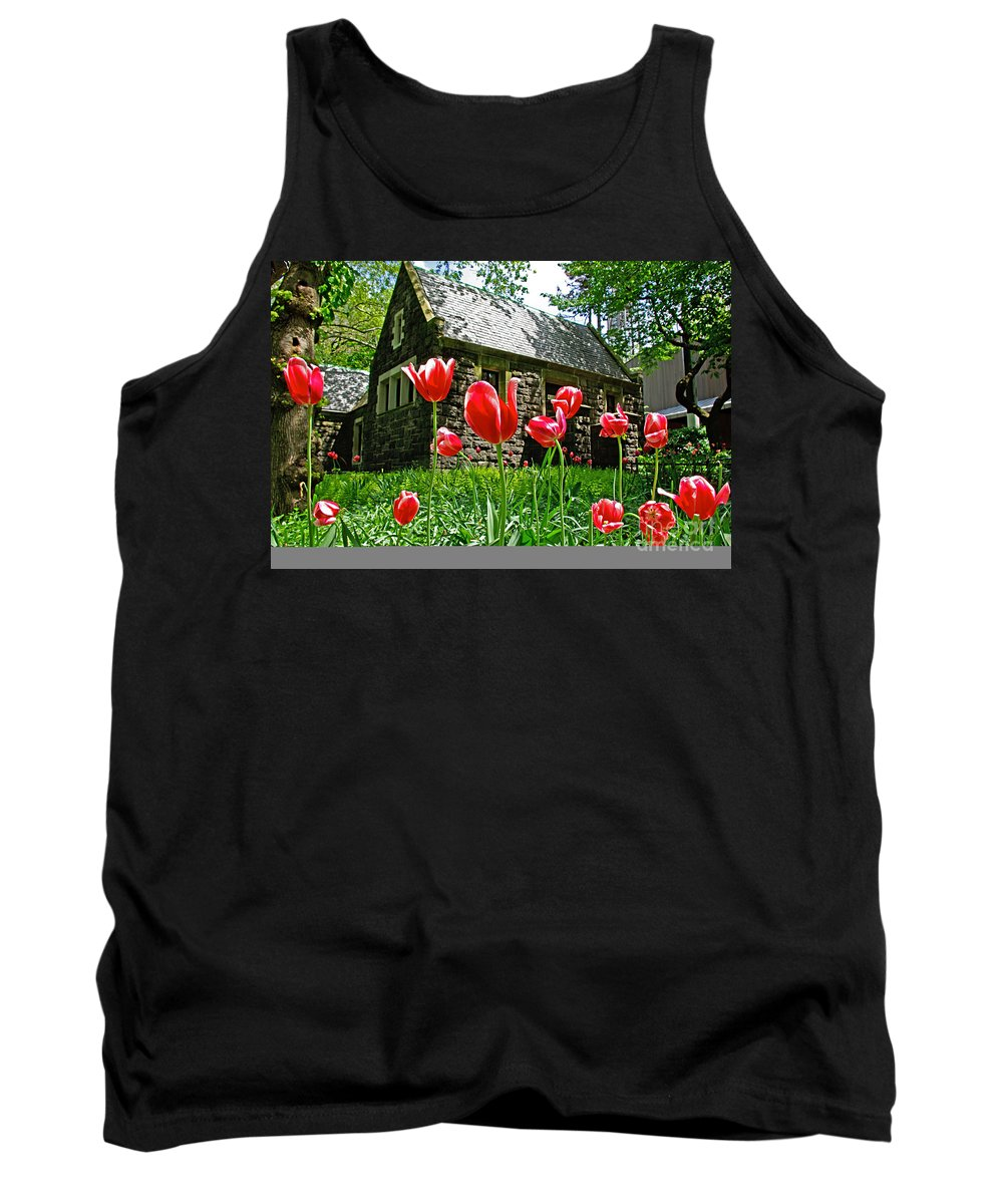 Red Tank Top featuring the photograph Red Flowers In Central Park by Zal Latzkovich