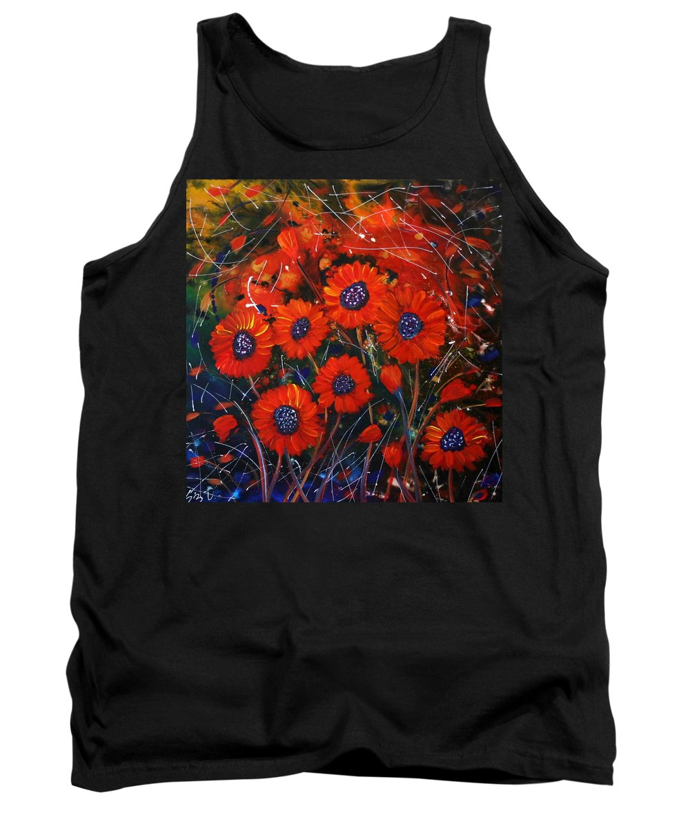 Flowers Tank Top featuring the painting Red Flowers In The Night by Luiza Vizoli