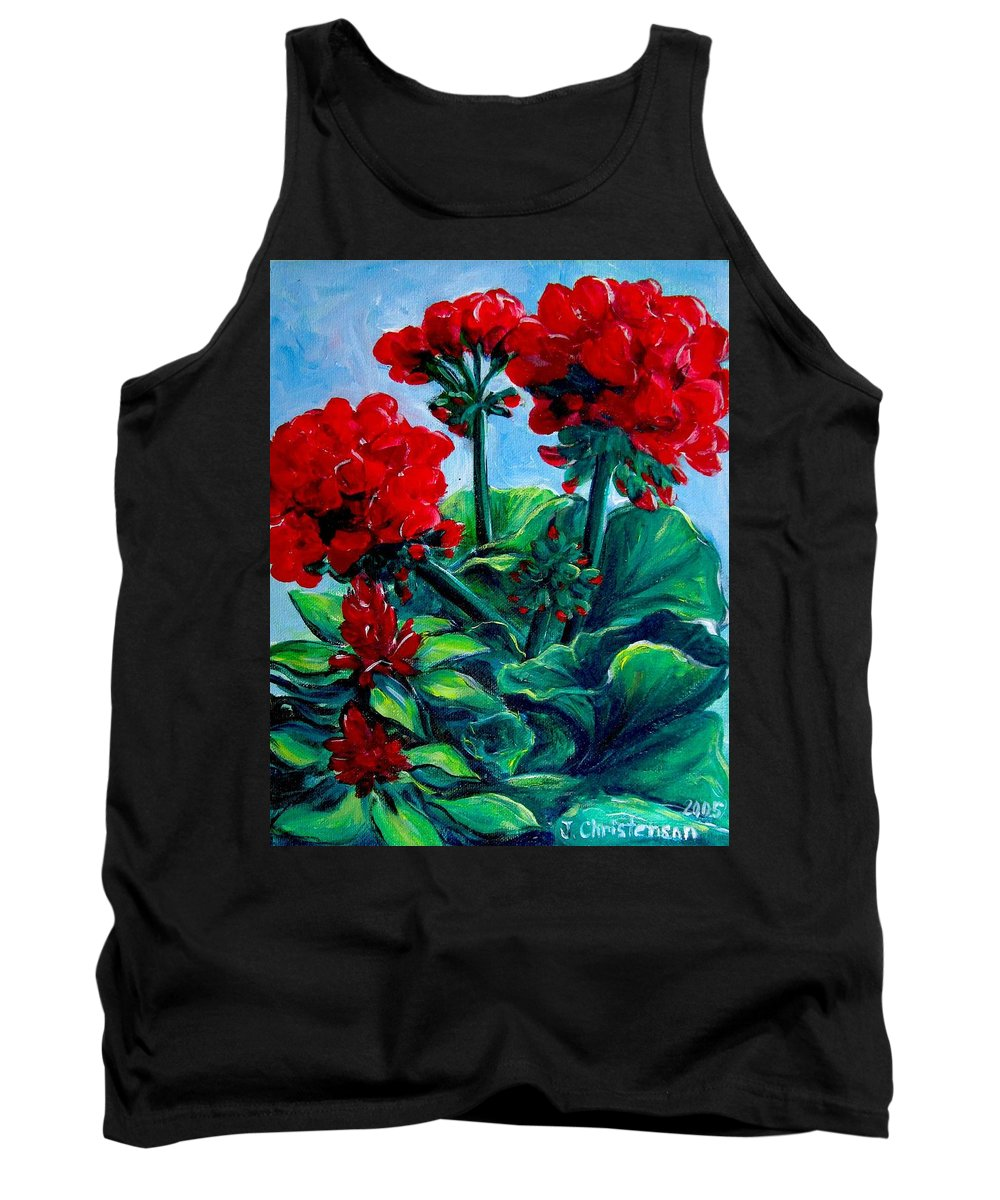 Floral Tank Top featuring the painting Red Geraniums by Jennifer Christenson