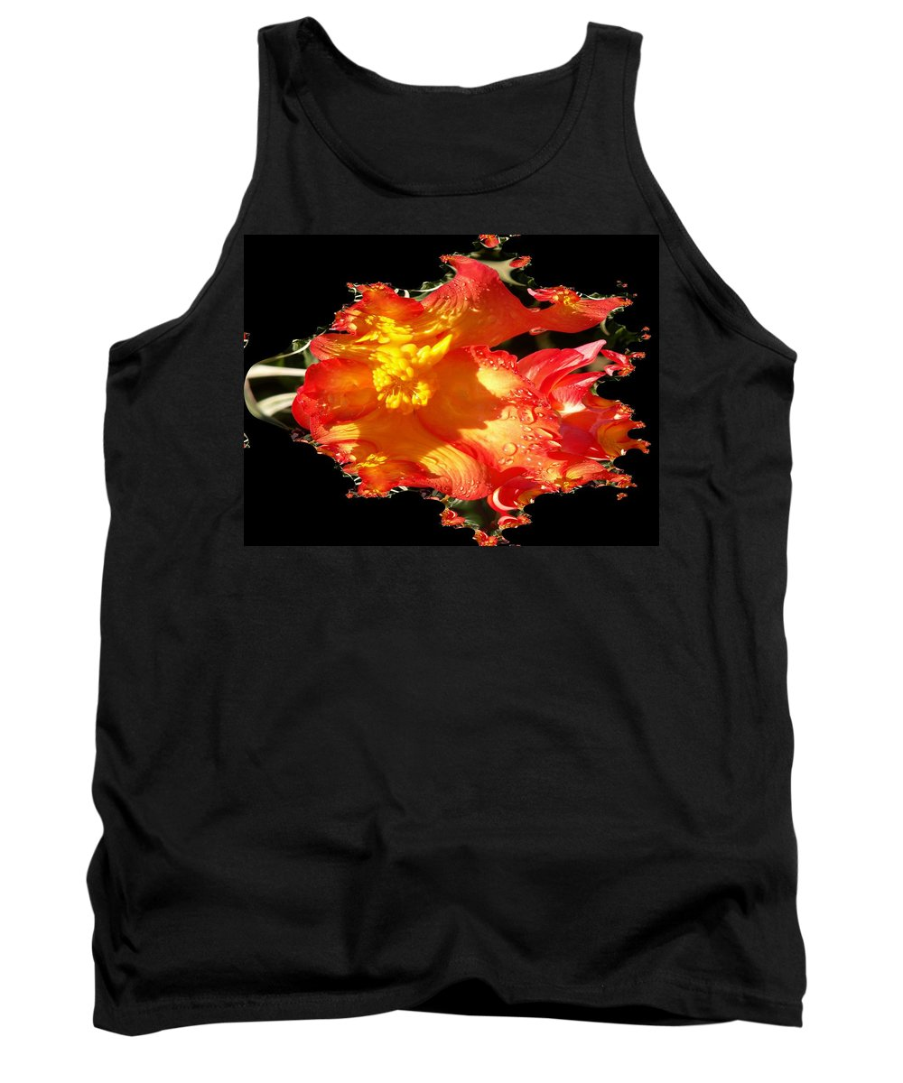 Flowers Tank Top featuring the digital art Red N Yellow Flowers by Tim Allen