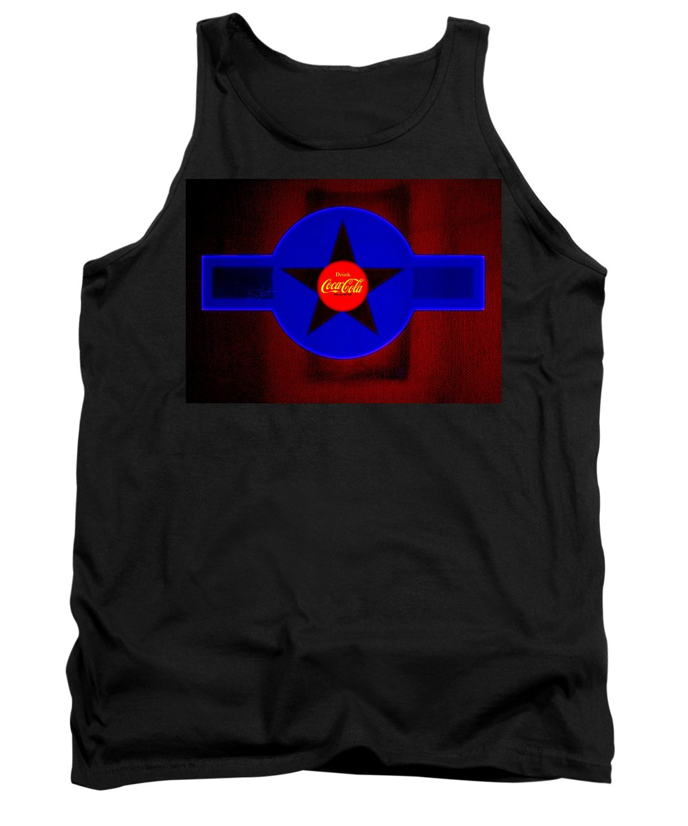 Label Tank Top featuring the painting Red On Red With Blue by Charles Stuart