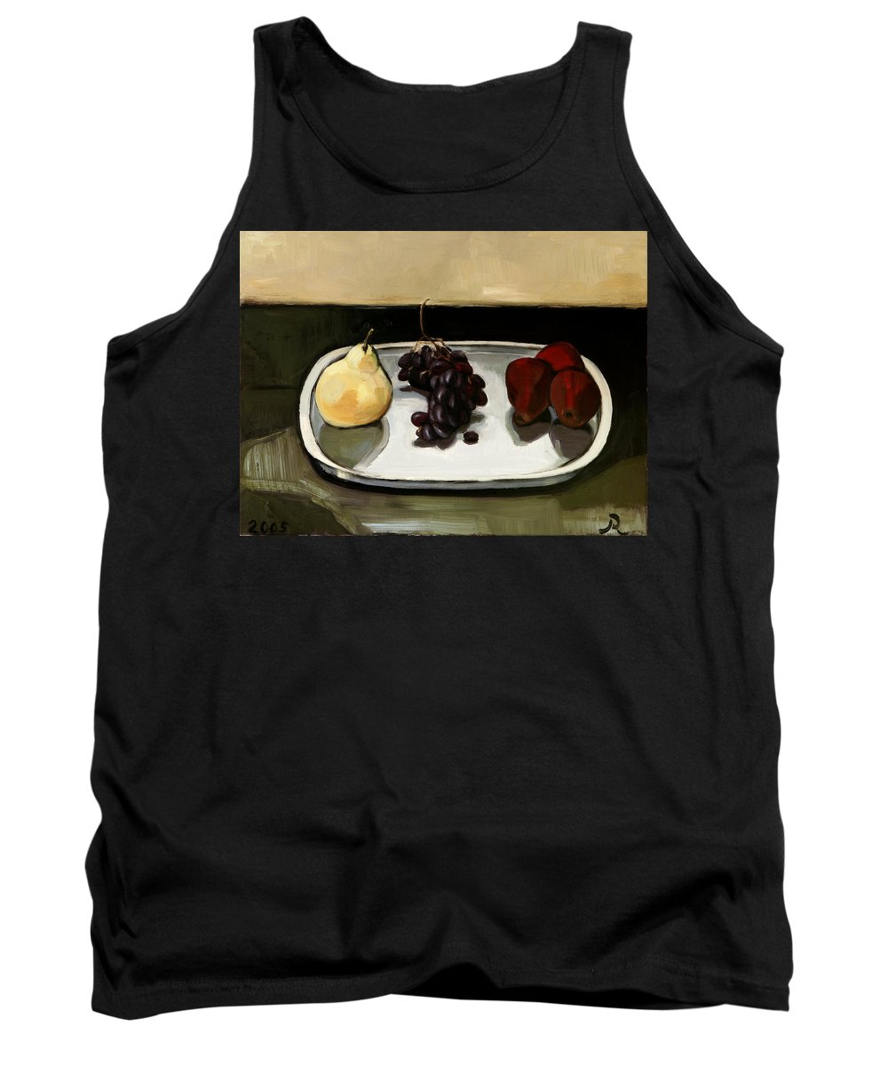 Still-life Grapes Pears Tank Top featuring the painting Red Pears by Raimonda Jatkeviciute-Kasparaviciene